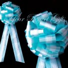"10 WHITE TEAL BLUE TWO LAYER 9"" EXTRA WIDE WEDDING LACE PULL PEW BOW BRIDAL CAKE GIFT  DECORCATION"