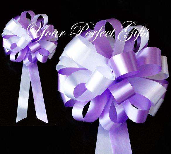 "10 LAVENDER PURPLE WHITE 8"" WEDDING PULL PEW BOW FOR BRIDAL CAKE GIFT BASKET DECORCATION PB018"