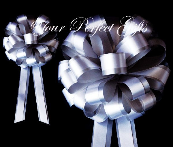 "10 SILVER WHITE 8"" TWO LAYER WEDDING PULL PEW BOWS FOR BRIDAL CAKE GIFT BASKET DECORCATION"