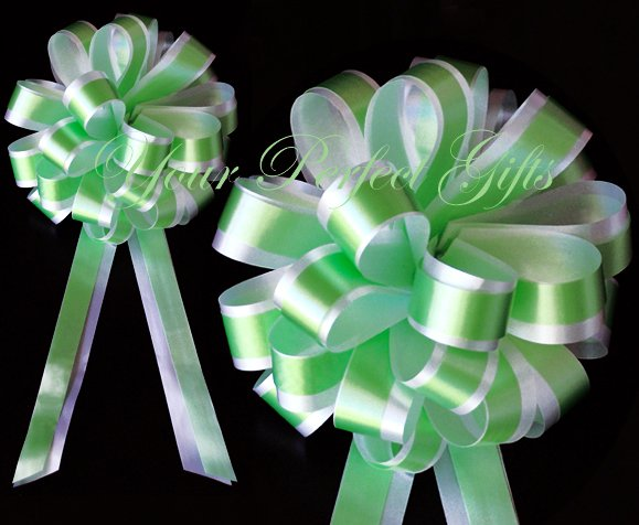 """10 GREEN & WHITE 8"""" TWO LAYER WEDDING PULL PEW BOWS FOR BRIDAL CAKE GIFT BASKET DECORCATION"""