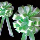 "10 GREEN & WHITE 8"" TWO LAYER WEDDING PULL PEW BOWS FOR BRIDAL CAKE GIFT BASKET DECORCATION"