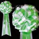 "10 WHITE & GREEN TWO LAYER 9"" EXTRA WIDE WEDDING PULL PEW BOWS BRIDAL CAKE GIFT BASKET DECORCATION"