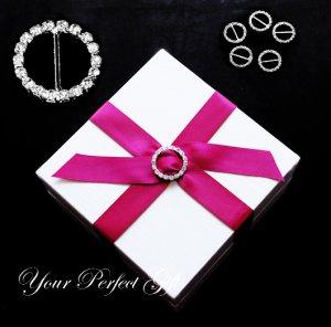 100 ROUND 22mm Silver Diamante Rhinestone Ribbon Buckle Sliders Wedding Invitation BK003