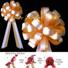 "10 GOLD ORANGE & WHITE 8"" TWO LAYER WEDDING PULL PEW BOW  BRIDAL CAKE GIFT BASKET DECORCATION"