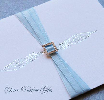 24 SQUARE Silver Diamante Rhinestone Ribbon Buckle Sliders For Wedding Invitation BK008