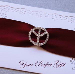 "50  Round Peace Sign 1-1/8"" Silver Diamante Rhinestone Ribbon Buckle Slider BK016"