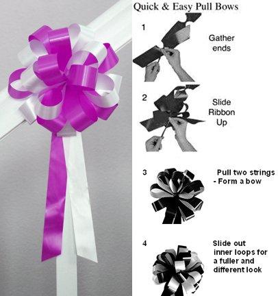 "10 WHITEFUCHSIA PINK 8"" WEDDING PULL PEW BOWS FOR BRIDAL CAKE GIFT BASKET DECORCATION"
