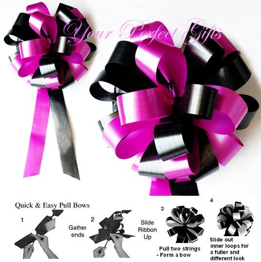 "10 BLACK FUCHSIA PINK 8"" WEDDING PULL PEW BOWS FOR BRIDAL CAKE GIFT BASKET DECORCATION PB036"
