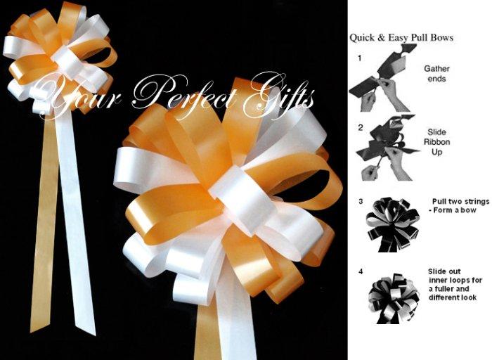 "10 TANGERINE ORANGE & WHITE 9"" WEDDING PULL PEW BOWS FOR BRIDAL CAKE GIFT BASKET DECORCATION"