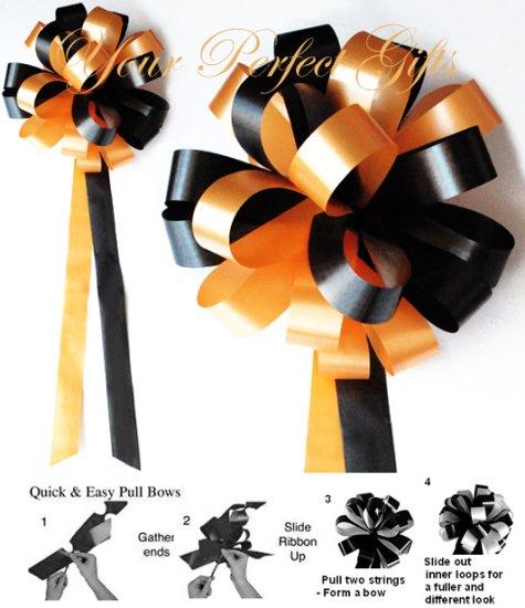 "10 LIGHT ORANGE & BLACK 9"" WEDDING PULL PEW BOWS FOR BRIDAL CAKE GIFT BASKET DECORCATION"