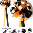 "10 LIGHT ORANGE & BLACK 9"" WEDDING PULL PEW BOWS FOR BRIDAL CAKE GIFT BASKET DECORCATION"