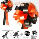 "10 ORANGE & BLACK 8"" WEDDING PULL PEW BOWS FOR BRIDAL CAKE GIFT BASKET DECORCATION"
