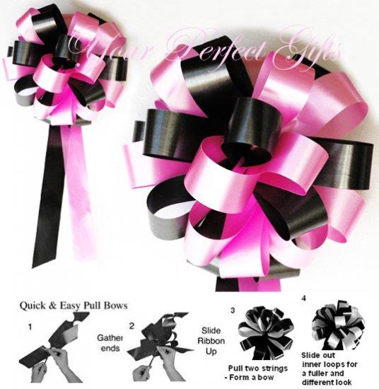 "10 BLACK CANDY PINK 8"" WEDDING PULL PEW BOWS FOR BRIDAL CAKE GIFT BASKET DECORATION PB092"