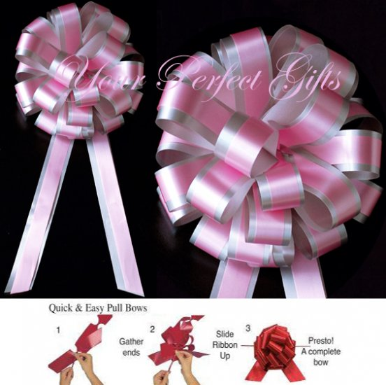 """20 BABY PINK SILVER 8"""" TWO LAYER WEDDING PULL PEW BOWS FOR BRIDAL CAKE GIFT BASKET DECORCATION"""