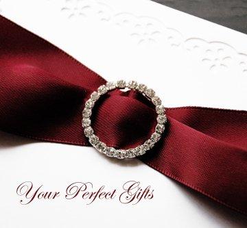 "50 ROUND 1.1"" Silver Large Diamante Rhinestone Ribbon Buckle Sliders For Wedding Invitation BK020"