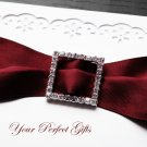 "12 LARGE SQUARE 1"" Diamante Rhinestone Ribbon Silver Buckle Sliders For Wedding Invitation BK022"