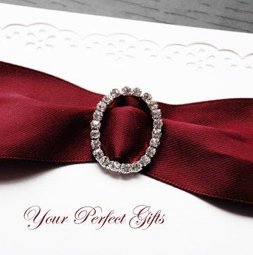 24 LARGE OVAL Silver Diamante Rhinestone Ribbon Buckle Sliders For Wedding Invitation BK063