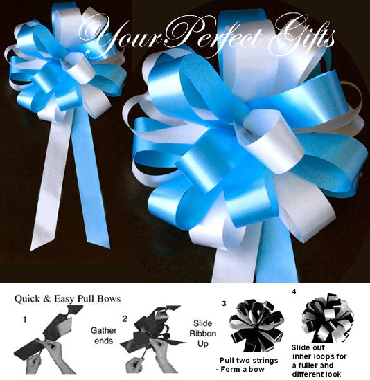 "24 WHITE TURQUOISE BLUE 8"" WEDDING PULL PEW BOWS FOR BRIDAL CAKE GIFT BASKET DECORATION PB060"