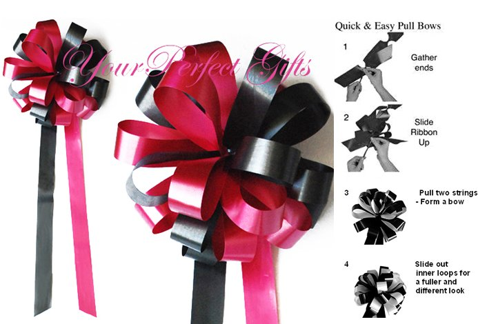 "24 APPLE RED & BLACK 9"" WEDDING PULL PEW BOWS FOR BRIDAL CAKE GIFT BASKET DECORCATION"