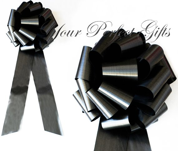 "10 BLACK 9"" LARGE WEDDING PULL PEW BOWS FOR BRIDAL CAKE GIFT BASKET DECORATION PB105"