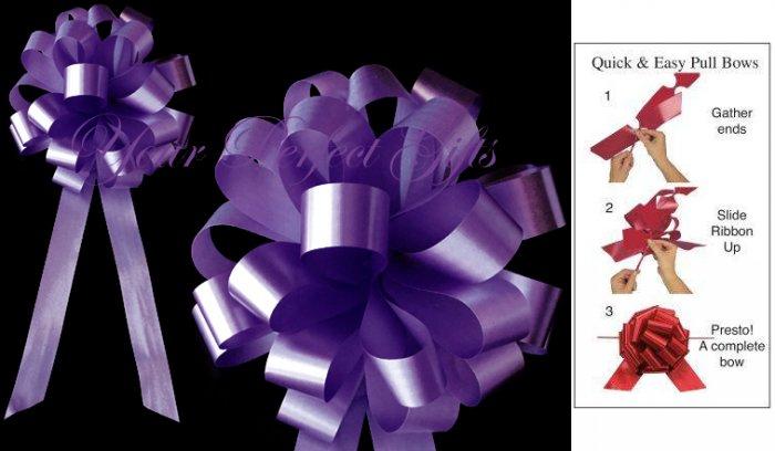 "10 DARK PURPLE 8"" WEDDING PULL PEW BOWS FOR BRIDAL CAKE GIFT BASKET DECORCATION PB011"