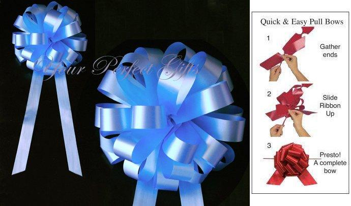 "10 PASTEL BABY BLUE 8"" WEDDING PULL PEW BOWS FOR BRIDAL CAKE GIFT BASKET DECORCATION PB003"