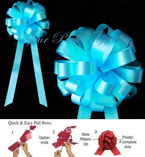 "10 TEAL BLUE 8"" WEDDING PULL PEW BOWS FOR BRIDAL CAKE GIFT BASKET DECORCATION PB016"