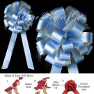 "10 BABY PASTEL BLUE SILVER 8"" TWO LAYER WEDDING PULL PEW BOWS BRIDAL CAKE GIFT DECORCATION PB173"