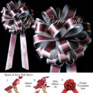 "10 BURGUNDY RED SILVER 8"" TWO LAYER WEDDING PULL PEW BOWS FOR BRIDAL CAKE GIFT BASKET DECORCATION"