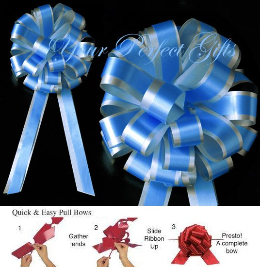 """10 TURQUOISE BLUE SILVER 8"""" TWO LAYER WEDDING PULL PEW BOWS FOR BRIDAL CAKE GIFT DECORATION PB175"""