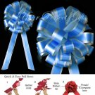 "10 TURQUOISE BLUE SILVER 8"" TWO LAYER WEDDING PULL PEW BOWS FOR BRIDAL CAKE GIFT DECORATION PB175"