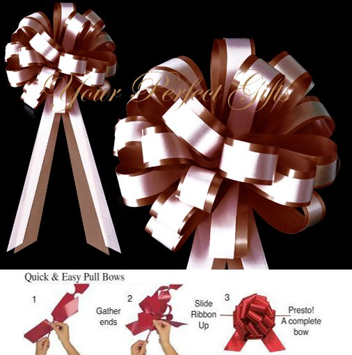 "12 CHOCOLATE BROWN & WHITE 8"" TWO LAYER WEDDING PULL PEW BOW  BRIDAL CAKE GIFT BASKET DECORCATION"