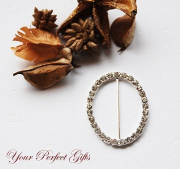 "100 2"" OVAL Silver Diamante Rhinestone Ribbon Buckle Sliders Wedding Invitation BK075"