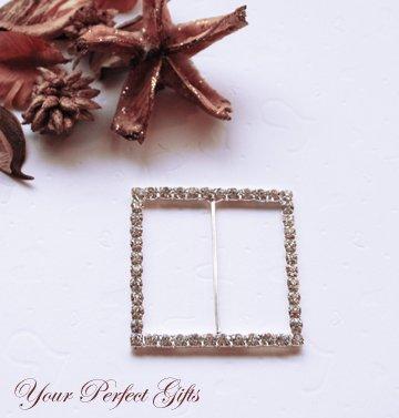 """50 SQUARE 2"""" Silver Diamante Rhinestone Buckle Slider Wedding Invitation BK046"""