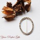 "50 2"" OVAL Silver Diamante Rhinestone Ribbon Buckle Sliders Wedding Invitation BK075"