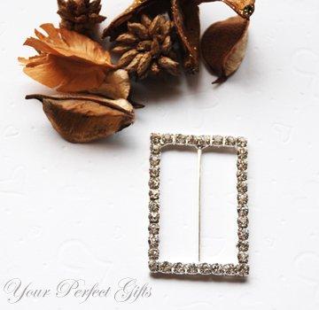 "3 pcs 2"" RECTANGLE Silver Diamante Rhinestone Ribbon Buckle Sliders For Wedding Invitation Card"
