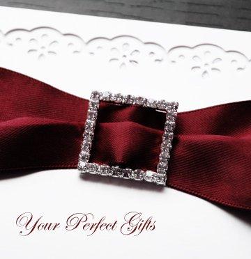 "1 pc SQUARE 1"" Diamante Rhinestone Crystal Silver Buckle Slides Wedding Invitation BK022"