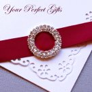 1 pc Two Row ROUND CIRCLE Silver Diamante Rhinestone Crystal Buckle Slider Wedding Invitation BK038