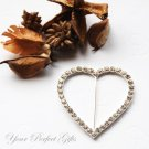 "1 pc 2.25"" HEART Silver Diamante Rhinestone Crystal Buckle Sliders Wedding Invitation BK036"