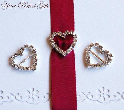 1 pc HEART Diamante Rhinestone Crystal Silver Buckle Slider Horizontal For Wedding Invitation BK012