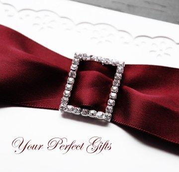 "1 pc RECTANGLE 1.1"" Diamante Rhinestone Crystal Silver Buckle Sliders Wedding Invitation BK065"