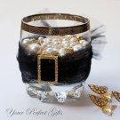 "1 pc RECTANGLE 1.25"" Gold Diamante Rhinestone Crystal Buckle Slider Wedding Invitation BK094"