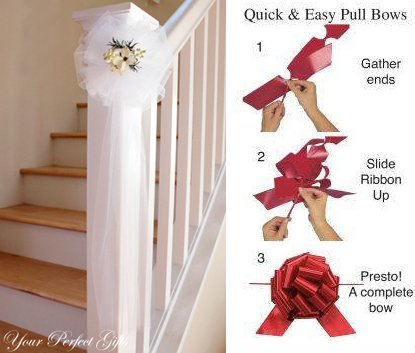 "14 WHITE 9"" TULLE NET WEDDING PEW BOWS FOR BRIDAL CAKE GIFT BASKET DECORCATION"