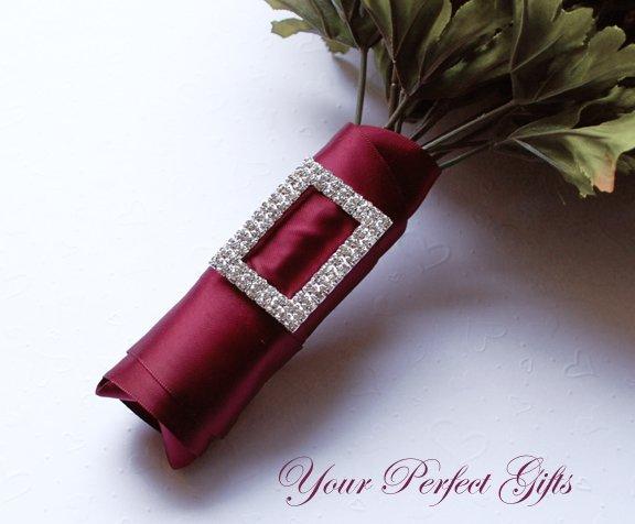 "24 pcs Two Row 2"" RECTANGLE Silver Diamante Rhinestone Ribbon Buckle Wedding Invitation BK090"