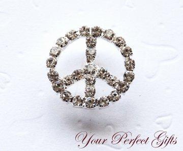 24  Round 24mm Peace Sign Silver Diamante Rhinestone Ribbon Buckle Slider BK014