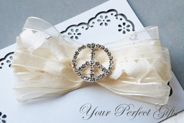 "100 Round Peace Sign 1"" (26mm) Silver Diamante Rhinestone Ribbon Buckle Slider BK015"