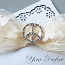"100 Round Peace Sign 1"" (26mm) Silver Diamante Rhinestone Ribbon Buckle Slider BK015"