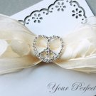 "24 Heart Peace Sign 1-1/8"" Silver Diamante Rhinestone Ribbon Buckle Slider Wedding Invitation BK042"