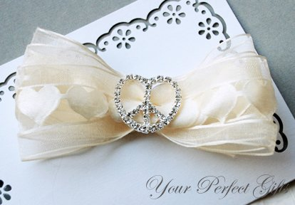 "50 Heart Peace Sign 1-1/8"" Silver Diamante Rhinestone Ribbon Buckle Slider Wedding Invitation BK042"