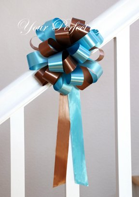 "12 CHOCOLATE BROWN & TEAL BLUE 8"" WEDDING PULL PEW BOWS FOR BRIDAL CAKE GIFT BASKET DECORCATION"